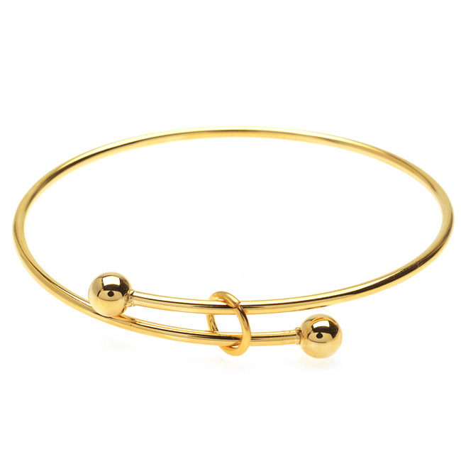 Final Sale - Expandable Charm Bangle Bracelet, Large 2-Ball Add a Charm, 1 Bracelet, Bright Gold