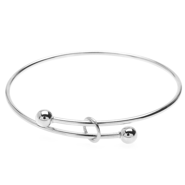Expandable Charm Bangle Bracelet, Large 2-Ball Add a Charm, 1 Bracelet, Bright Silver