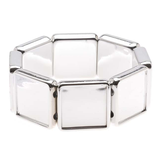 Silver Tone Plastic Stretch Bezel Collage Bracelet 20mm Squares - 7 Inches (1)