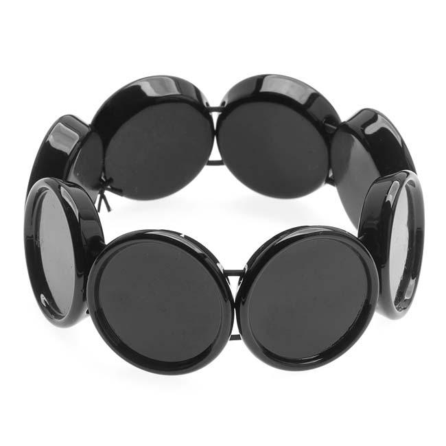 Black Plastic Stretch Bezel Collage Bracelet 20mm Round - 7 Inch (1)