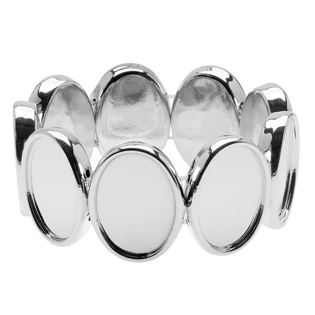 Silver Tone Plastic Stretch Bezel Collage Bracelet 18x25mm Ovals - 7 Inch (1)