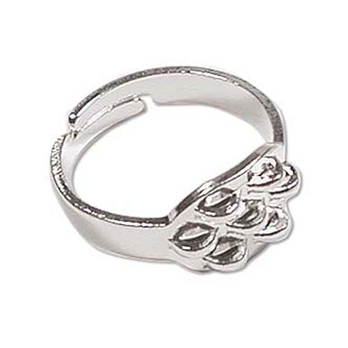 Silver Plated Seven Loop Beading Rings Adjustable (x4)