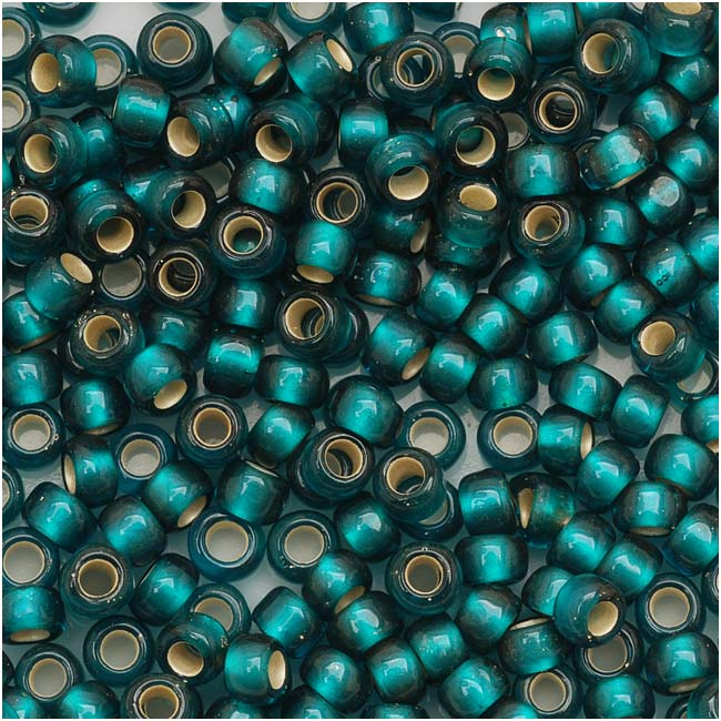 Toho Round Seed Beads 8/0 27BDF 'Silver Lined Frosted Teal' 8 Gram Tube