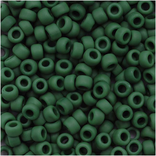 Toho Round Seed Beads 8/0 47HF 'Opaque Frosted Pine Green' 8 Gram Tube