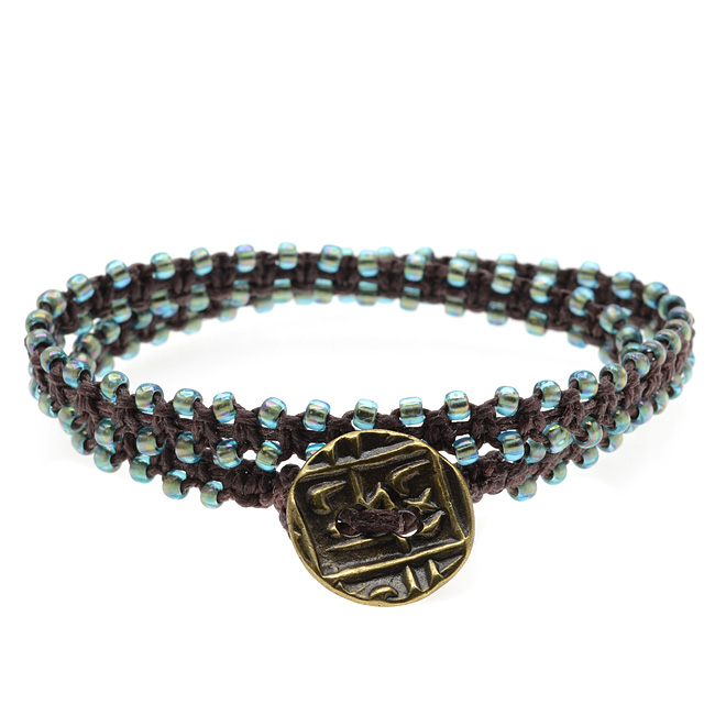 Beaded Macrame Wrap Bracelet (Brown & Aqua) - Exclusive Beadaholique Jewelry Kit