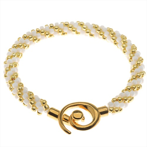 Spiral Beaded Kumihimo Bracelet (Gold/Wht) - Exclusive Beadaholique Jewelry Kit