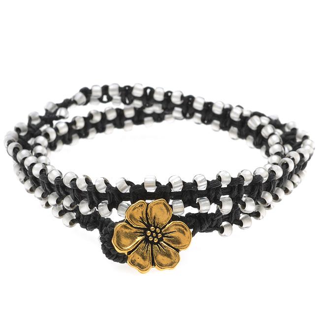 Beaded Macrame Wrap Bracelet (Blk & White) - Exclusive Beadaholique Jewelry Kit