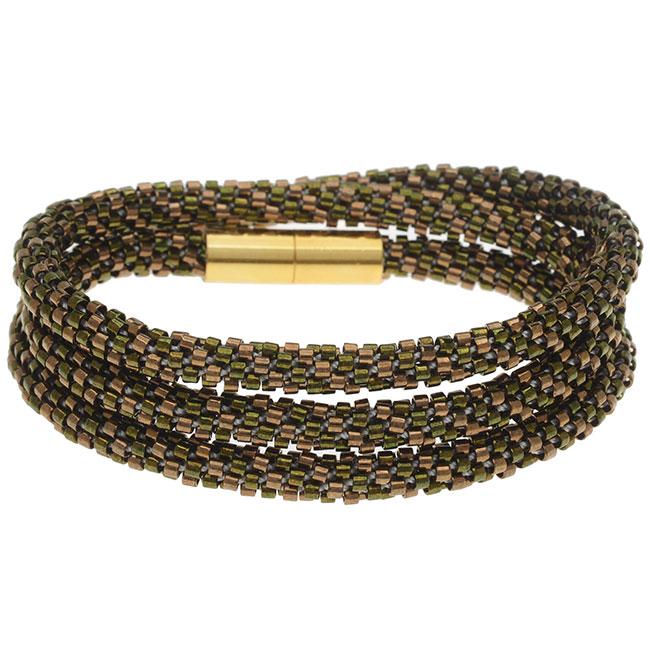 Beaded Kumihimo Wrap Bracelet Kit-Brnz/Grn - Exclusive Beadaholique Jewelry Kit