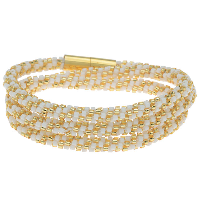 Beaded Kumihimo Wrap Bracelet Kit-Gold/Wht - Exclusive Beadaholique Jewelry Kit