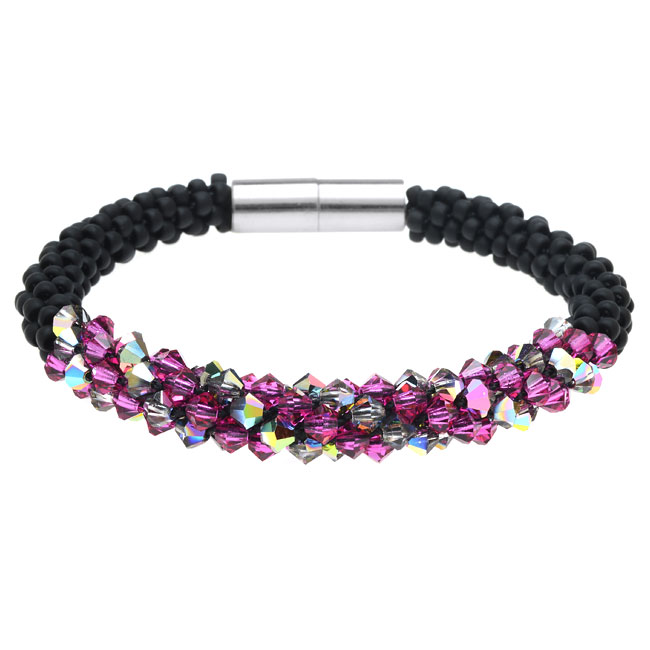 Deluxe Beaded Kumihimo Bracelet-Pink/Black - Exclusive Beadaholique Jewelry Kit
