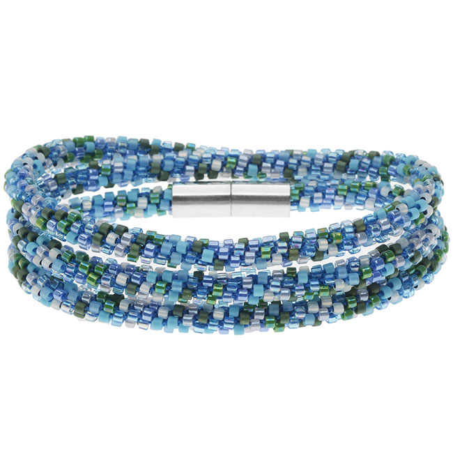 Beaded Kumihimo Wrap Bracelet Kit-Blue Tone - Exclusive Beadaholique Jewelry Kit