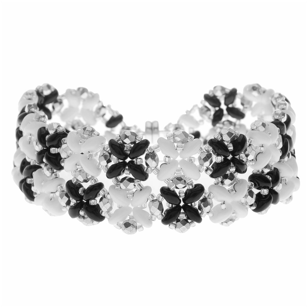SuperDuo Blooms Bracelet - Black/White - Exclusive Beadaholique Jewelry Kit