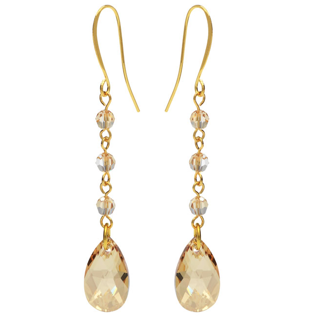 Drop Earrings featuring Swarovski Crystals - Golden Shadow - Exclusive Beadaholique Jewelry Kit