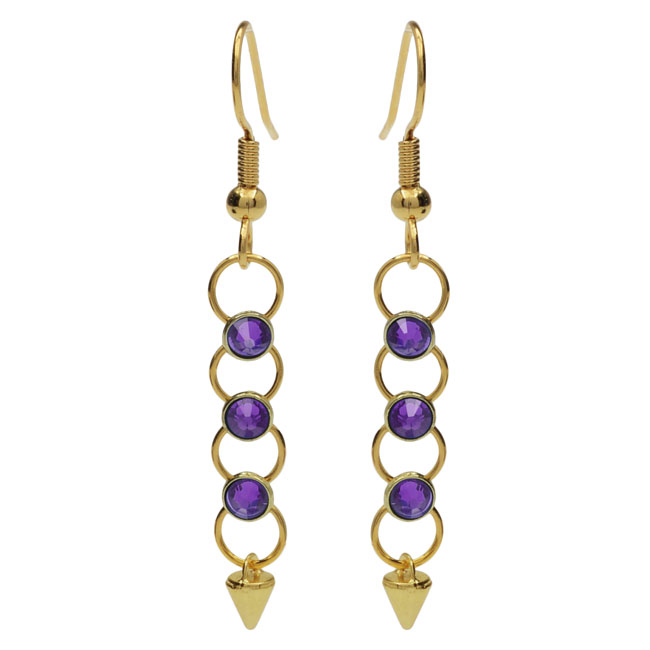Crystaletts Spike Earrings - Purple/Gold - Exclusive Beadaholique Jewelry Kit