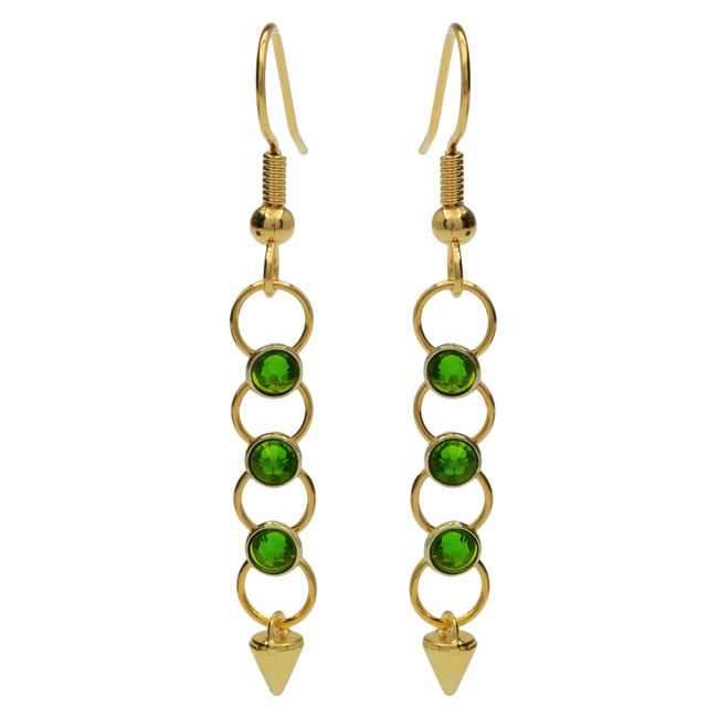 Crystaletts Spike Earrings - Green/Gold - Exclusive Beadaholique Jewelry Kit