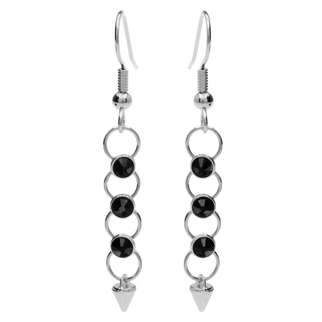Final Sale - Crystaletts Spike Earrings - Black/Silver - Exclusive Beadaholique Jewelry Kit