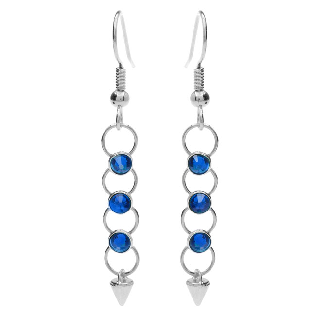 Crystaletts Spike Earrings - Blue/Silver - Exclusive Beadaholique Jewelry Kit