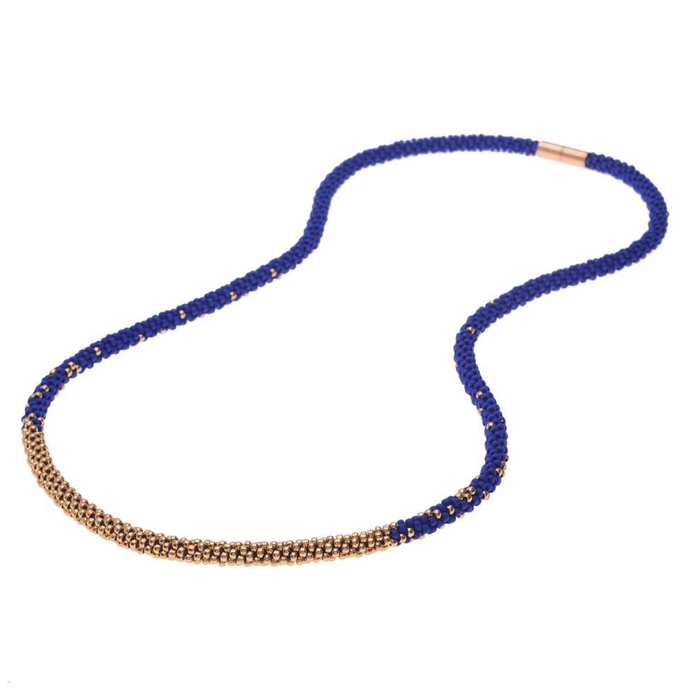 Long Beaded Kumihimo Necklace - Blue & Rose Gold - Exclusive Beadaholique Jewelry Kit