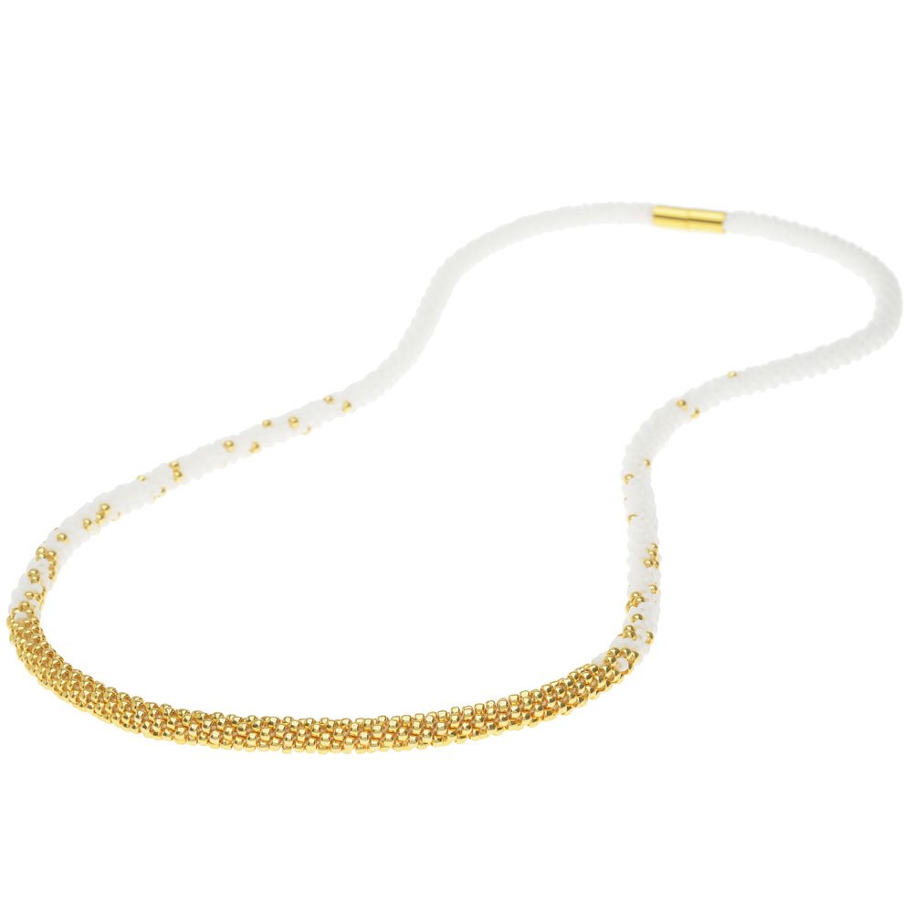 Long Beaded Kumihimo Necklace - White & Gold - Exclusive Beadaholique Jewelry Kit