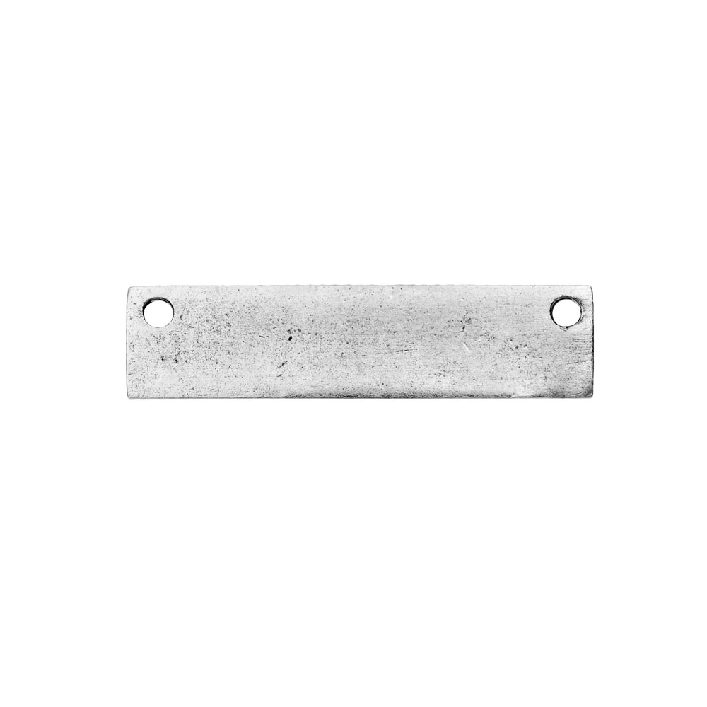 Final Sale - Nunn Design Flat Tag, Rectangle Blank with Two Holes 8x31.5mm, 1 Piece, Antiqued Silver