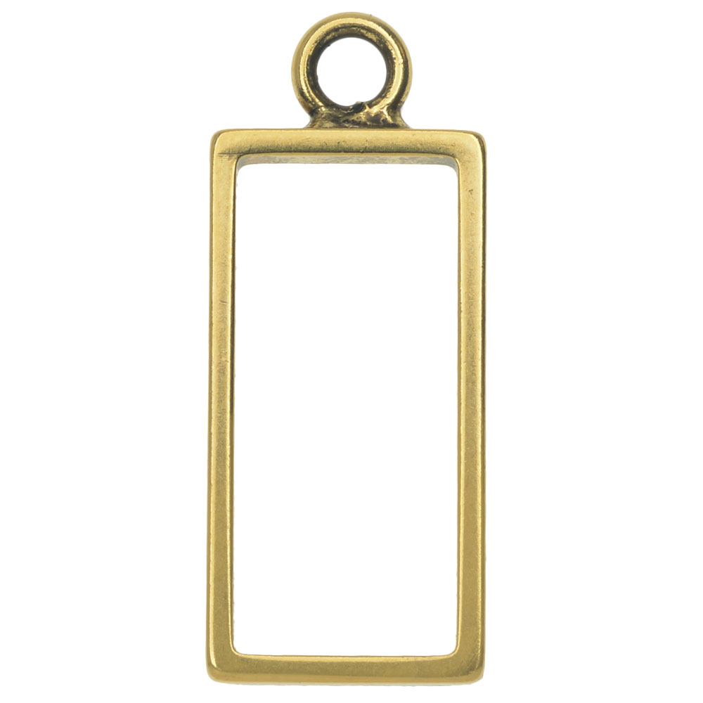 Nunn Design Open Frame Pendant, Rectangle 12.5x31mm, 1 Piece, Antiqued Gold