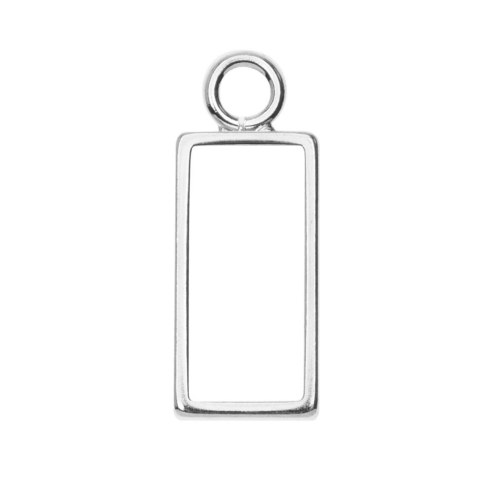 Open Back Bezel Pendant, Rectangle 9.5x25mm, 1 Piece, Bright Silver, by Nunn Design