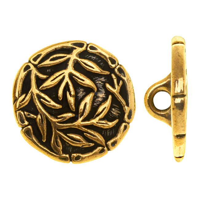 TierraCast Pewter, Round Button Bamboo 16mm, 1 Piece, Antiqued Gold