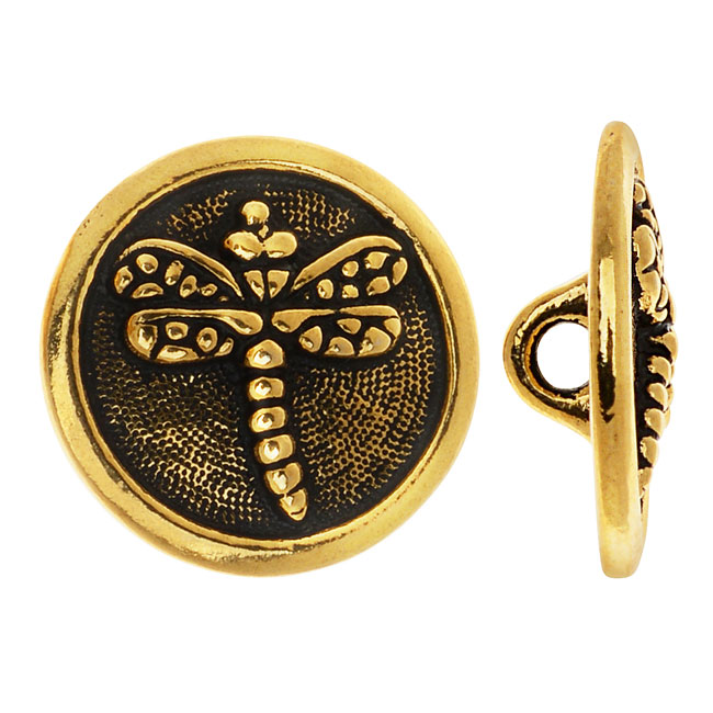 TierraCast Pewter, Round Button Dragonfly 16.5mm, 1 Piece, Antiqued Gold