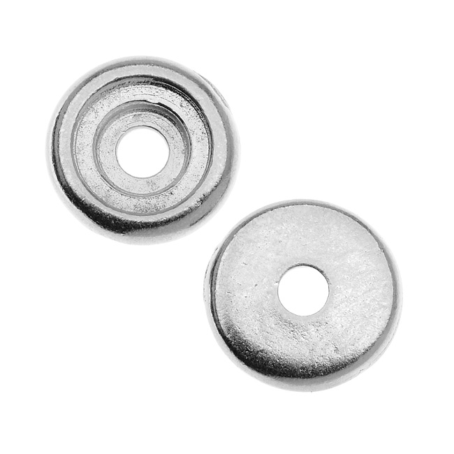 TierraCast Rhodium Plated Lead-Free Pewter Rivetable Glue In Cup Bead 10mm - Pack of 2