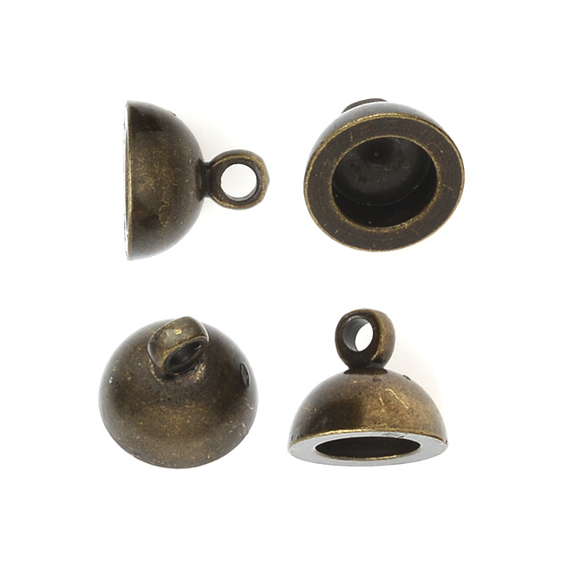Final Sale - Pendant Cap End with Loop, Round 7x8mm, 4 Pieces, Antiqued Brass