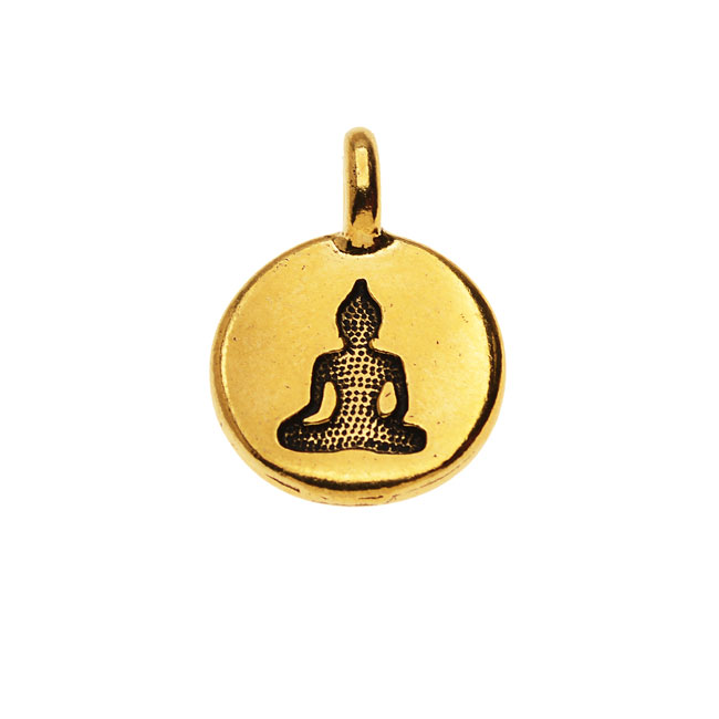 TierraCast Pewter Charm, Round Buddha Silhouette 16.5x11.5mm, 1 Piece, 22K Gold Plated