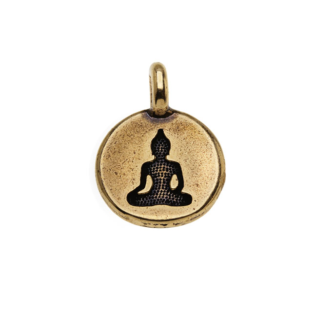TierraCast Pewter Charm, Round Buddha Silhouette 16.5x11.5mm, 1 Piece, Brass Oxide Finish