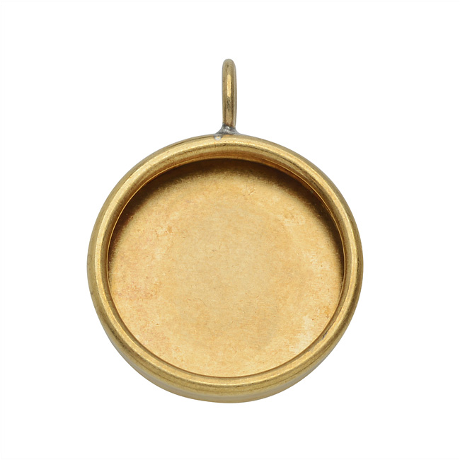 Nunn Design Bezel Pendant, 21.5mm Round, 1 Piece, Brass