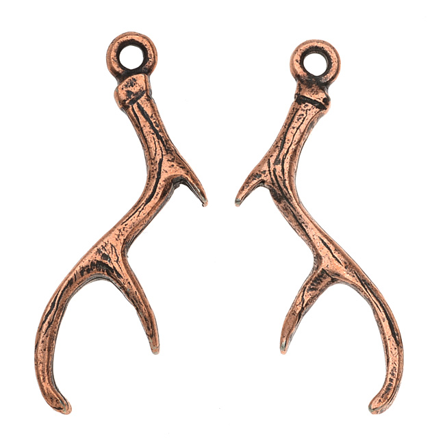 Nunn Design Charm, Antlers 9x29mm, 1 Pair, Antiqued Copper