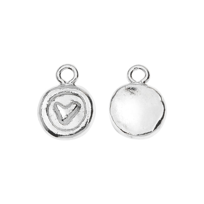Nunn Design Charm, Itsy Stamped Heart 9.5x12.5mm, 1 Piece, Silver