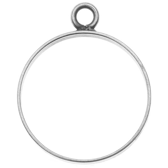 Nunn Design Open Frame Pendant, Circle 25x30.5mm, 1 Piece, Antiqued Silver