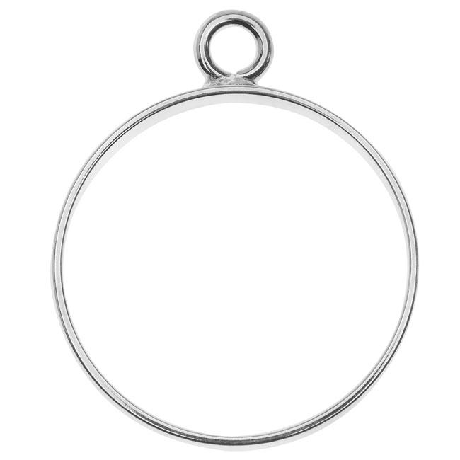 Nunn Design Open Frame Pendant, Circle 25x30.5mm, 1 Piece, Silver