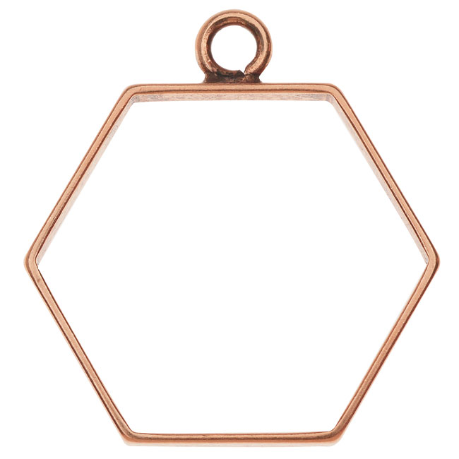 Nunn Design Open Frame Pendant, Hexagon 29x31mm, 1 Piece, Antiqued Copper