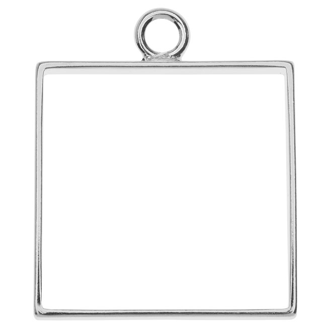 Nunn Design Open Frame Pendant, Square 25.5x31.5mm, 1 Piece, Silver