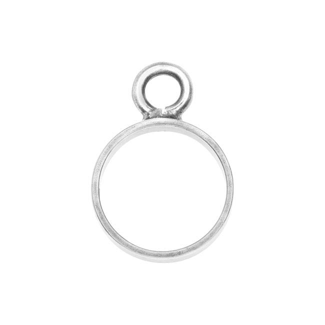 Nunn Design Open Frame Pendant, Circle 12.5x18mm, 1 Piece, Antiqued Silver