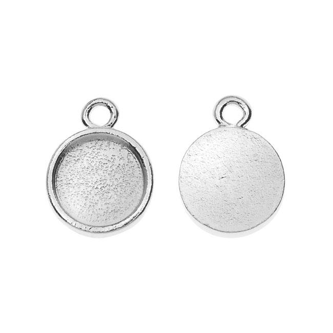 Nunn Design Charm, Itsy Circle Bezel 11x14mm, 2 Pieces, Silver