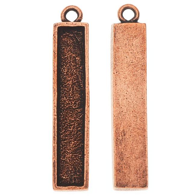 Nunn Design Charm, Itsy Rectangle Bezel 6x32mm, 2 Pieces, Antiqued Copper
