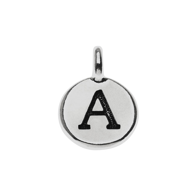 TierraCast Alphabet Charm, Uppercase Letter 'A' 16.5x11.5mm, 1 Piece, Antiqued Silver Plated
