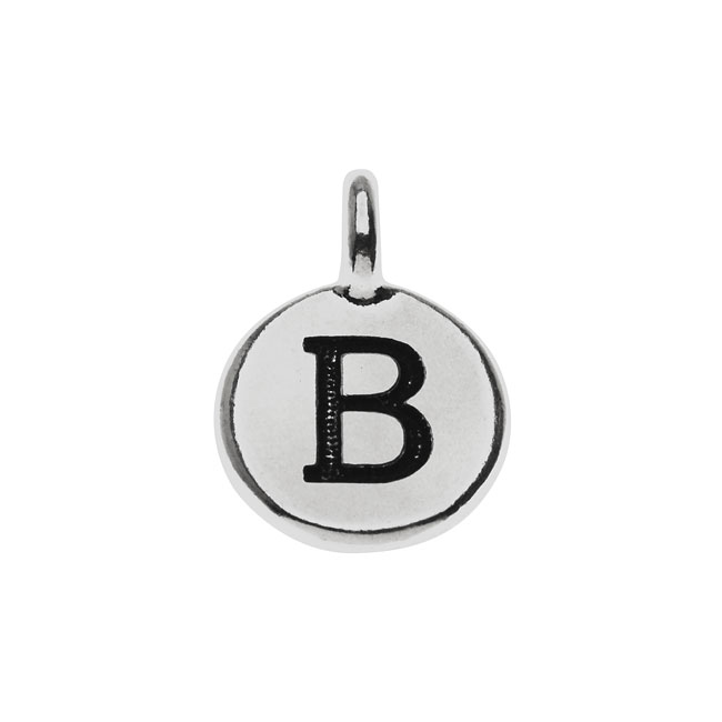 Final Sale - TierraCast Alphabet Charm, Uppercase Letter 'B' 16.5x11.5mm, 1 Piece, Antiqued Silver Plated