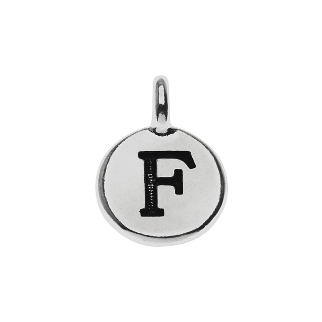 Final Sale - TierraCast Alphabet Charm, Uppercase Letter 'F' 16.5x11.5mm, 1 Piece, Antiqued Silver Plated