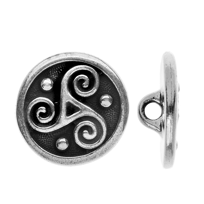 TierraCast Celtic Collection, Triskele Button 16mm, 1 Piece, Antiqued Silver