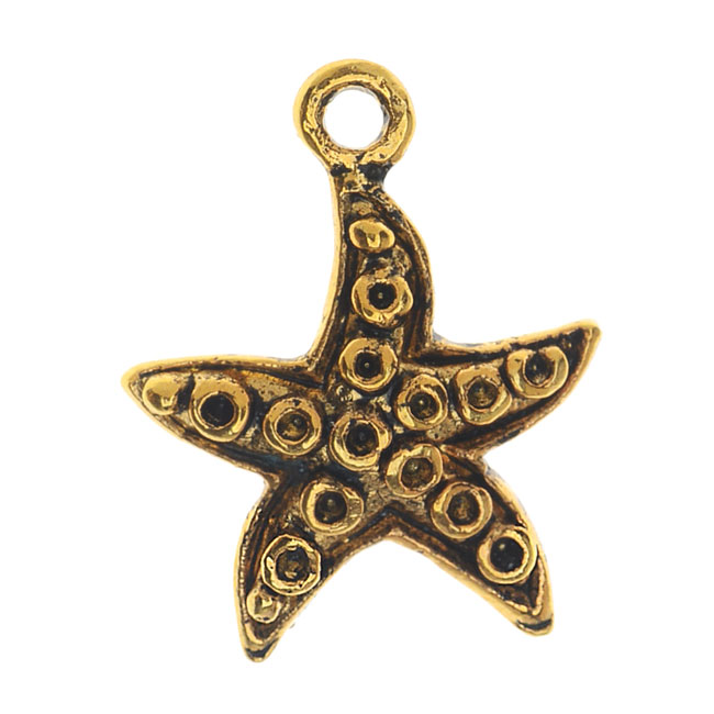 Final Sale - Lead-Free Pewter, Starfish Charm 14x18mm, 2 Pieces, Antiqued Gold