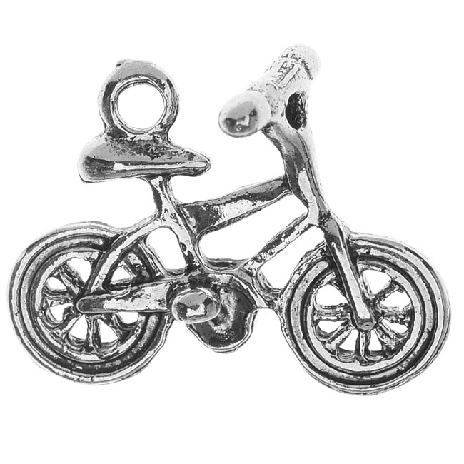 Final Sale - Lead-Free Pewter, Bicycle Charm 17x21mm, 2 Pieces, Antiqued Silver