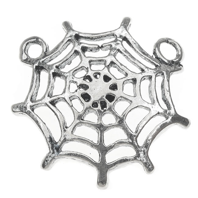 Final Sale - Lead-Free Pewter, Spiderweb 2 Loop Charm 23.5x24mm, 2 Pieces, Antiqued Silver
