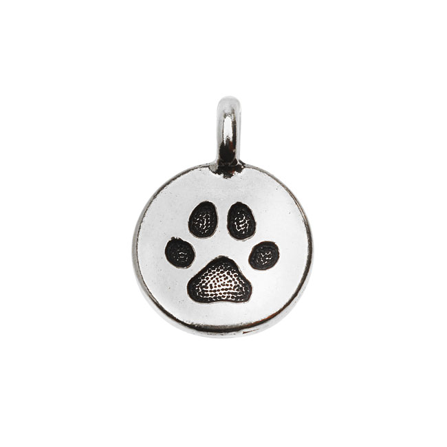 TierraCast Pewter Charm, Round Paw Print 16.5x11.5mm, 1 Piece, Antiqued Silver Plated